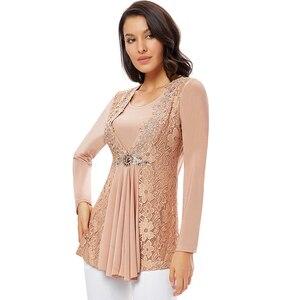 Image 5 - YTL בתוספת גודל נשים חולצה בציר אביב סתיו פרחוני הסרוגה תחרה למעלה כותנה שרוול ארוך טוניקת חולצה חולצה 6XL 7XL 8XL H025