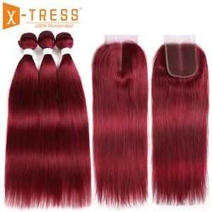 Image 2 - 99J/Bordeaux Rood Gekleurde Human Hair Weave Bundels Met Kant Sluiting 4x4 Braziliaanse Straight Non remy haar Inslag Extensions X TRESS