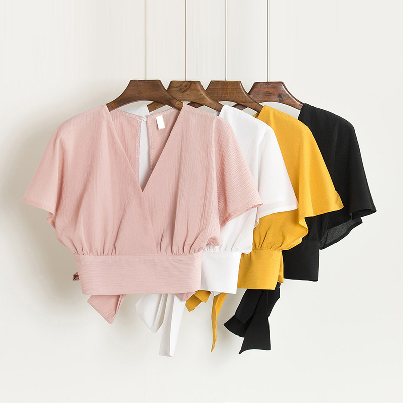 Summer V neck Shirts Backless Bowtie Lace Up Chiffon Blouses High Waist Short Batwing Sleeved Sexy Tank Tops 2018 Spring|chiffon blouse|batwing sleevev-neck shirt - AliExpress