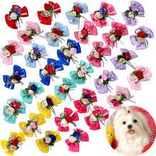 10pcs Dog Bows Flowr Pet Dog Hair Accessories Fashion Cute Pet Supplies Dog Grooming Products Rubber Bands Dog Hair Bows