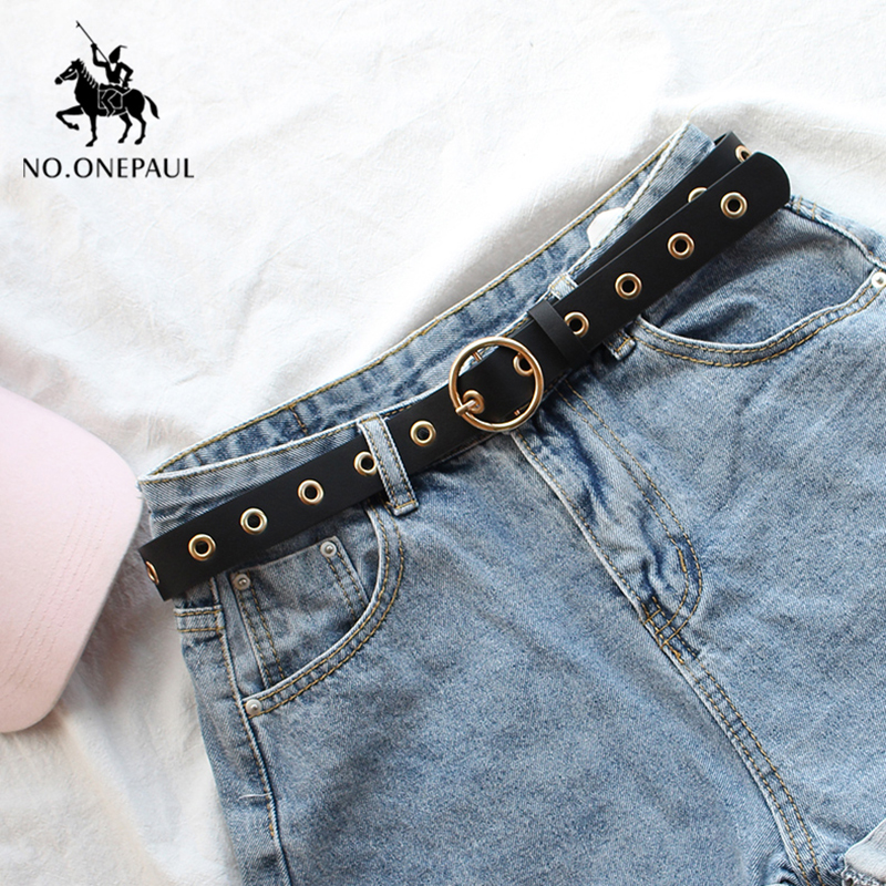 NO.ONEPAUL Genuine Leather Ladies High Quality Fashion Casual Belt Alloy Round Buckle With Ladies Trend Jeans The Women For Belt