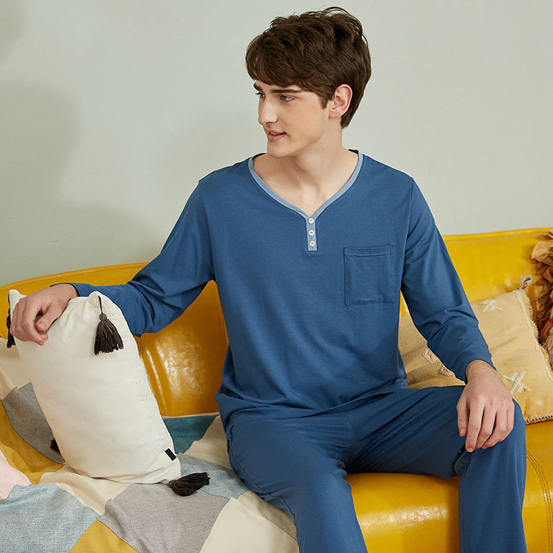 Pajamas Man spring cotton Leisure Time Loose Long Sleeve Trousers fall male Home Furnishing Serve simple solid color mens pyjama