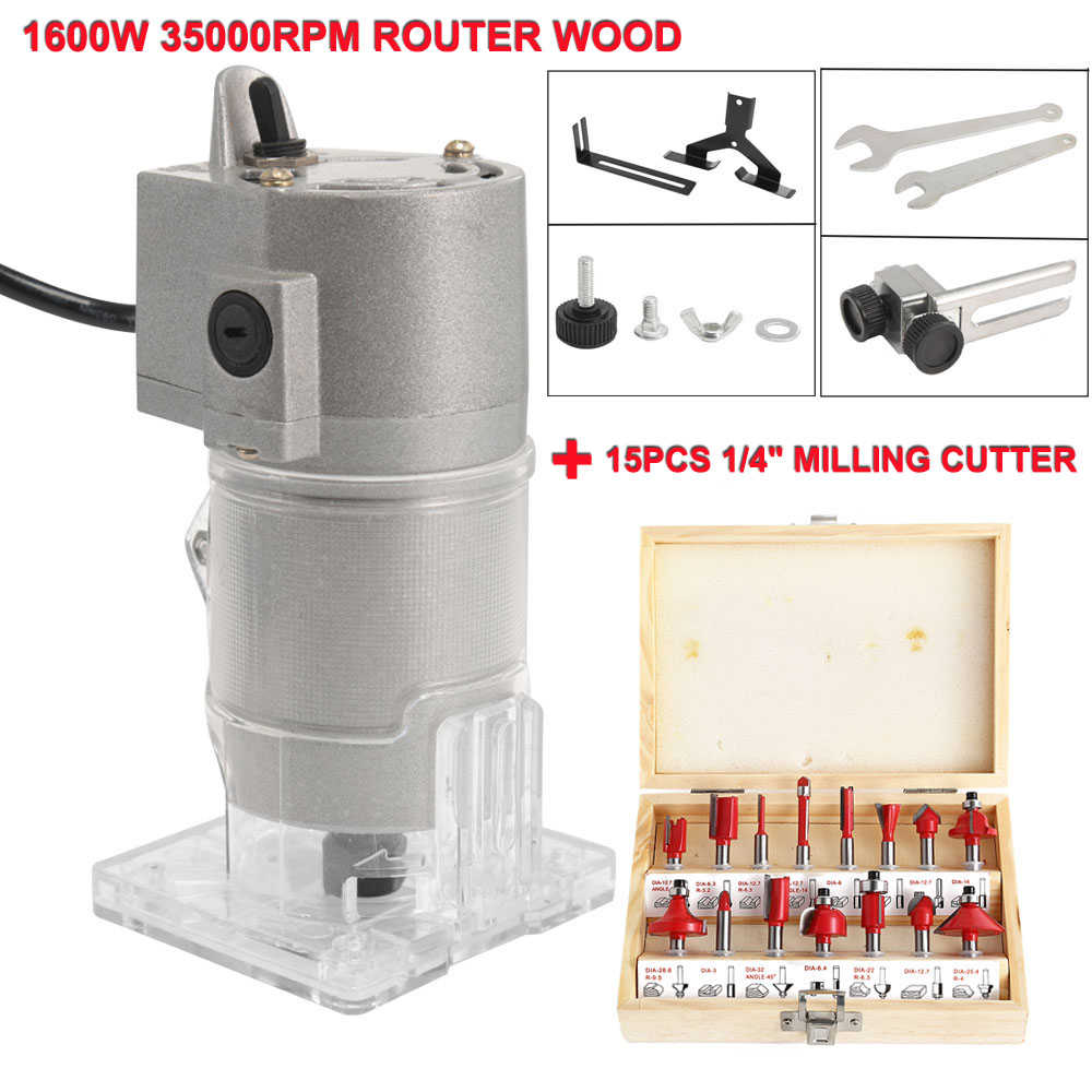 1600W 35000rpm Router Wood Woodworking Electric Hand Trimmer Wood Power Tool Carving Machine Aluminum Body With Milling Cutter