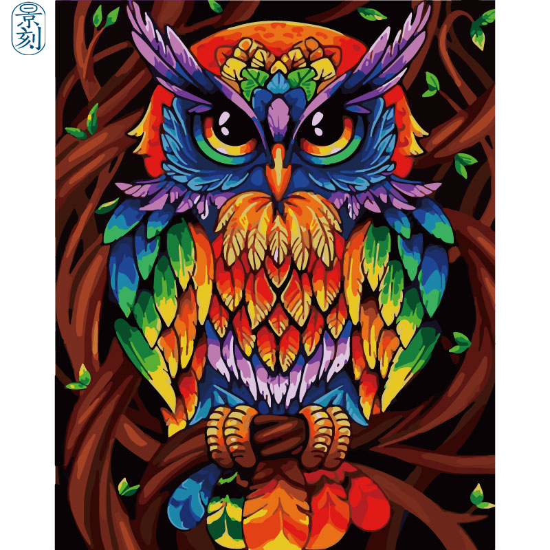 Owl Series .Hand Made Paint High Quality Canvas Beautiful Painting By Numbers Surprise Gift Great Accomplishment