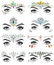 Mulheres sereia rosto gemas glitter, strass rave rosto jóias festival, cristais rosto adesivos, olhos rosto corpo tatuagens temporárias