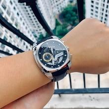 שונית טייגר/RT חדש אופנה Mens שעונים כיכר ספורט שעון פלדת רצועת עור צבאי שעוני יד Relogio Masculino RGA3363