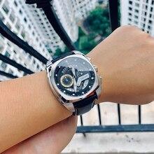 Resif kaplan/RT yeni moda erkek saatler kare spor izle çelik deri kayış askeri saatı Relogio Masculino RGA3363
