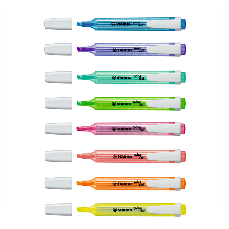 STABILO Swing Cool Bright Color Highlighter Pen, Matte Pocket Sized Marker Spot Liner Highlight Drawing Office Fax School A6586