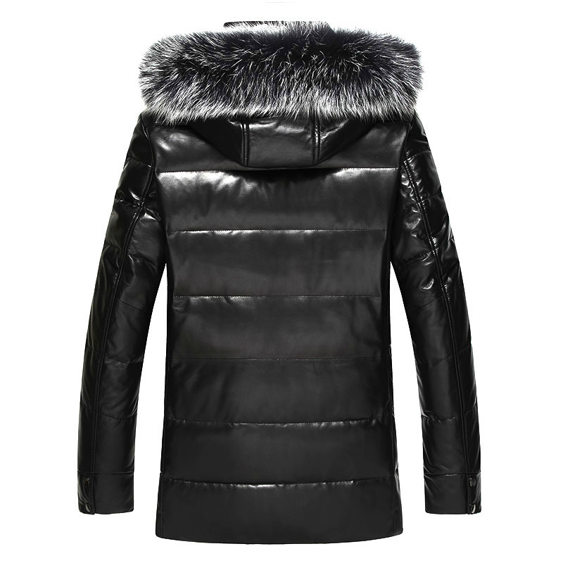 Winter Genuine Leather Coat Men Leather Down Coat Fox Fur Hooded Thick Real Leather Sheepskin Coat MC16C601 LWL1074
