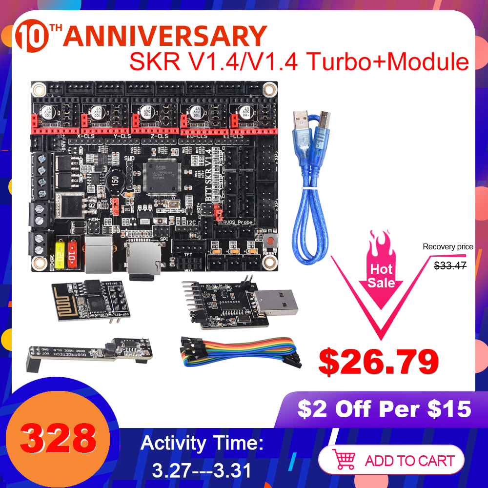 BIGTREETECH SKR V1.4/BTT SKR V1.4 Turbo Control Board 32Bit+WIFI+DCDC+Writer For Ender SKR V1.3 3D Printer Parts TMC2209 TMC2208