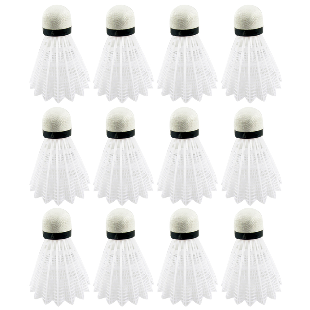 12 Pcs Nylon Badminton Shuttlecocks Plastic Badminton Birdies Indoor Outdoor Sports Equipment White