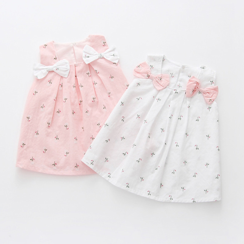 2020 Girls Baby Fashion Dresses For Infants Toddlers Children's Clothing Dress Floral Bow For Girls 0-3 Years Old
