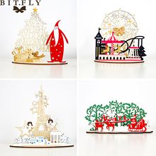 1pcs Christmas Table Decoration Hollow Out Ferris Wheel Santa Claus Ornament For DIY Merry Christmas
