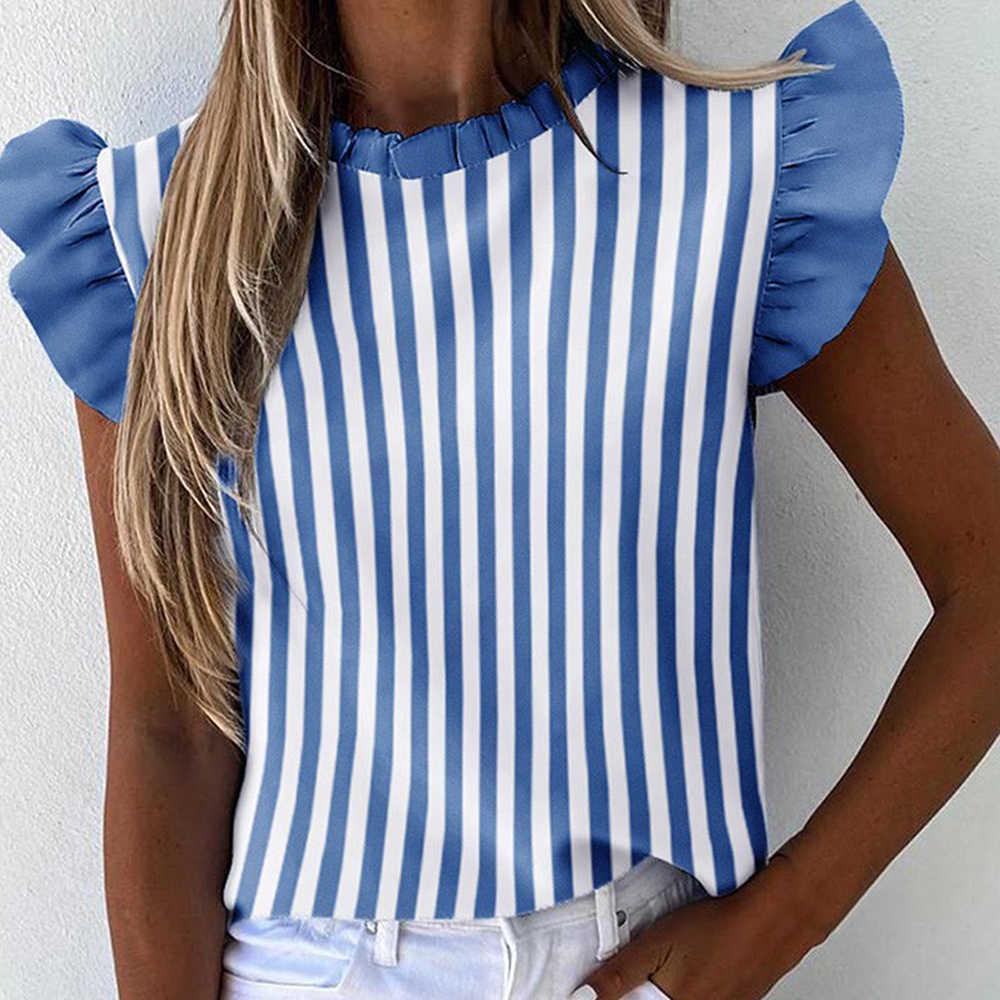 女性の夏のフリルブラウス2020新セクシーな半袖ラウンドネックプリント女性のファッションプラスサイズプルオーバー服
