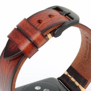 Image 3 - Correa de reloj de cuero de vaca hecha a mano repuesto para Apple Watch Band 44mm 40mm 42mm 38mm Series SE 6 5 4 3 2 iWatch Watch pulsera