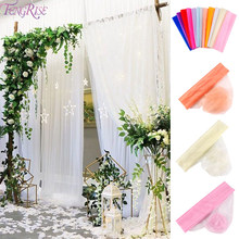 5m/10m Wedding Sheer Yarn Crystal Organza Tulle Roll Rustic Wedding Decor Table Vintage Wedding Party Deco Supplies Marriage(China)