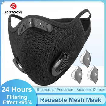 X-TIGER Cycling Face Mask With 2 PM 2.5 Filters Anti-Pollution Mask Washable Dust Bike Mask Activated Carbon Filters Facemask