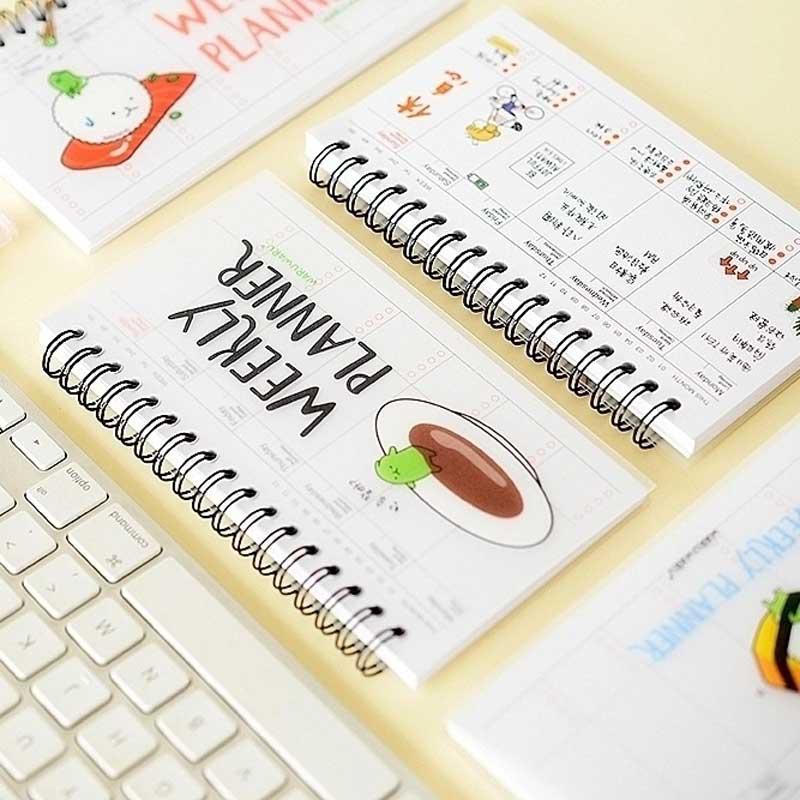 Sushi Notebook Spiral Cute Kawaii Weekly Planner Memo Book Daily Agenda Week Plan Schedule For Kids Gift School Office Supplies