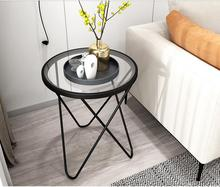 Nordic side a few ins simple sofa golden small table living room apartment tempered glass coffee