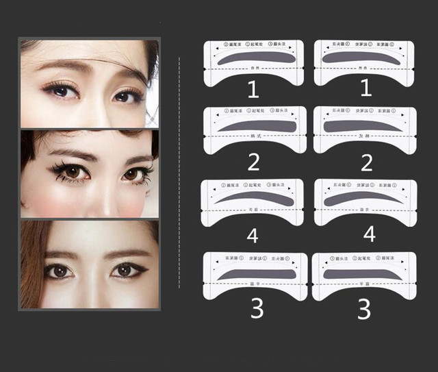 DIY 8 pairs/pack Grooming Shaping Eyebrow Template Stickers Make Up Eyebrow Stencils Drawing Card For Eyes Makeup Tools 2
