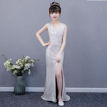 Sexy sequined stitching evening gown Kids Catwalk Mermaid princess dress birthday party dress for girls vestidos Y3146