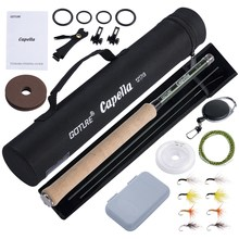 Goture 12FT Classical Tenkara Fly Fishing Rod Combo Super Light Portable IM8 Carbon Fiber Trout Rod With Flies Line Lures Set