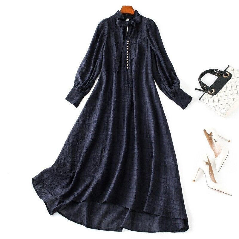 Femmes manches longues lâche style robe noeud col boutons avant 2019 automne pré automne robes blanches