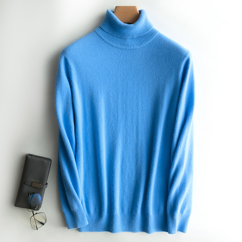 Casual Turtleneck Sweater Men 100% Goat Cashmere Sweaters And Pullovers Warm Bottoming Jumper Soft Autumn Winter Long Sleeve Top