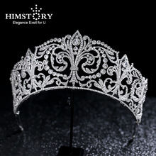 Himstory Royal Luxuriou Goddess Iris Cubic zircon Crown Tiara Big Size Hair Jewelry Bridal Heaband Wedding Party Hair Jewelry
