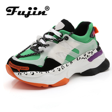 Fujin New Sneakers Dropshipping Women Platform White Mellow Shoes Casual Flats Breathable Soft Femme Chunky Chaussure
