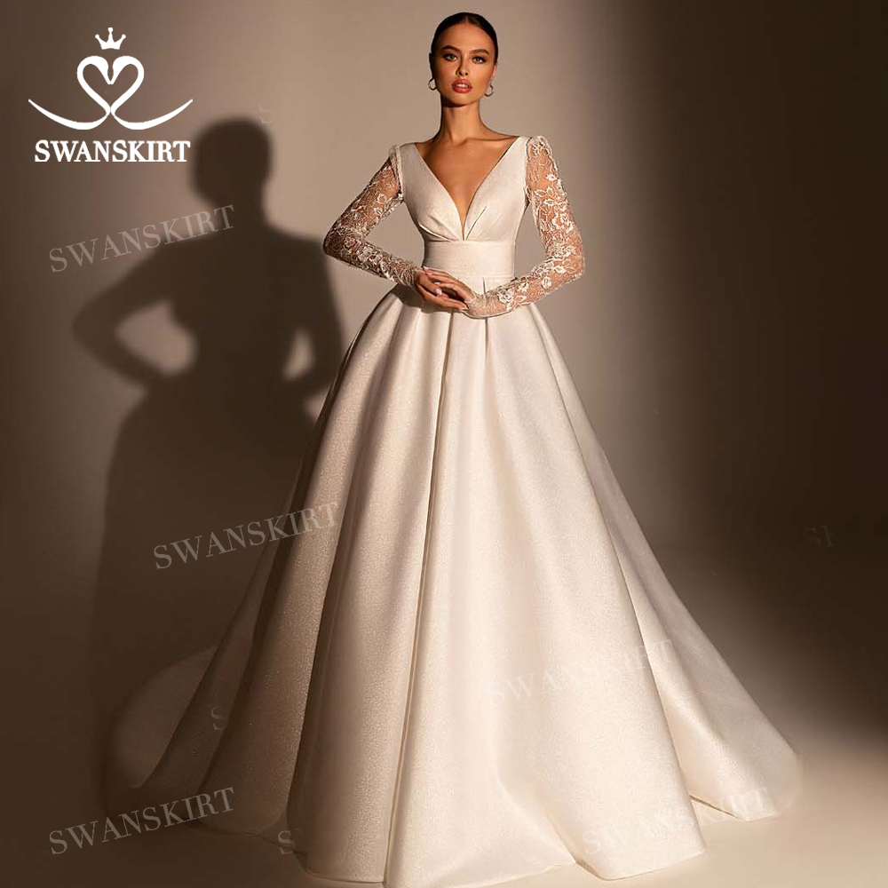 Long Sleeve Lace Wedding Dress 2020 V-neck Open Back Satin A-Line Vestido De Novia Princess SwanSarah W118 Plus Size Bridal Gown