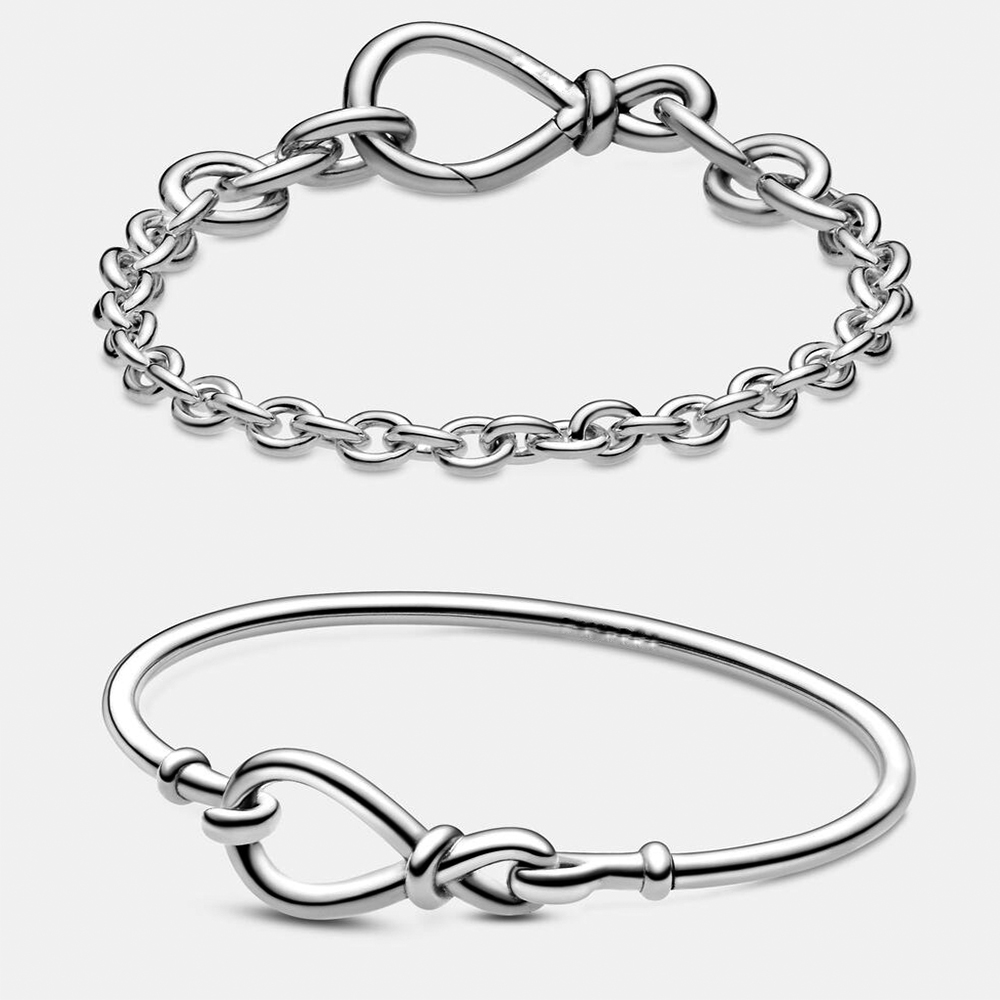 New Bracelet Sterling Silver 925 High Quality -chunky-infinity-knot-chain-bracelet