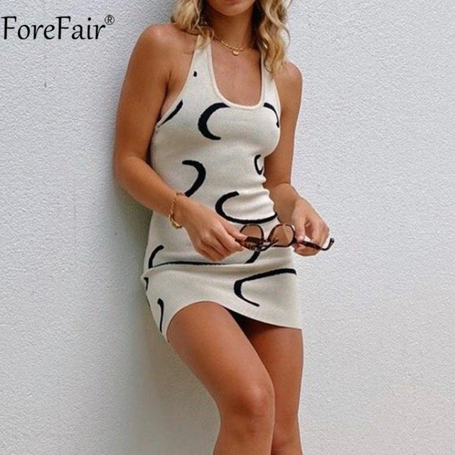 Forefair Mini White Women Y2k Sexy Dress Halter Neck Backless Knitted Print Sleeveless Summer Party Dresses 2021 Beach Casual 1