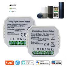 Tuya Smart Home Zigbee gradateur Module de commutation 1/ 2 Gang 220-240V avec contrôle sans fil neutre à 2 voies fonctionne avec Alexa Google Home