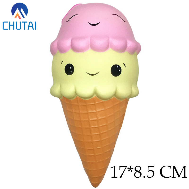Super Jumbo Kawaii Cartoon Ice Cream Doll Squishy Soft Slow Rising Stress Relief Toys For Kids Baby Xmas Birthday Gift 17*8.5 CM