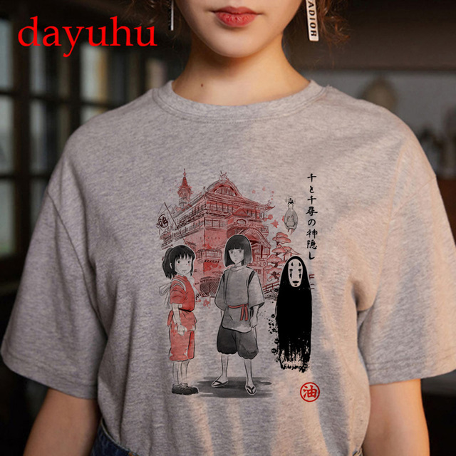 Totoro Studio Ghibli Harajuku Kawaii T Shirt Women Ullzang spirited away Tshirt Funny Cartoon T-shirt Cute Anime Top Tee Female 2