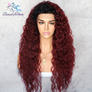 Image 2 - BeautyTown Kinky Curly Futura Heat Resistant Black Red 99j Hair Gift Daily Cosplay Makeup Synthetic Lace Front Party Women Wig
