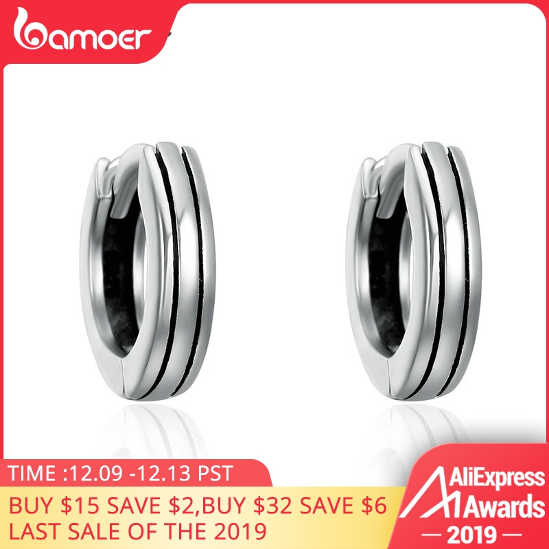 BAMOER Classic 100% 925 Sterling Silver Hiphop Round Rock Hoop Earrings For Women Authentic Silver Jewelry Bijoux Gift SCE141