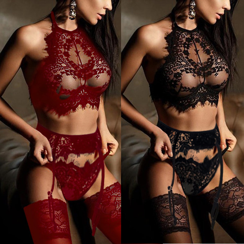 Women Lingerie Sexy Hot Erotic Bra + Thongs Garters Set Sleepwear Exotic Underwear Porn Sex Costumes Transparent Lace Babydoll