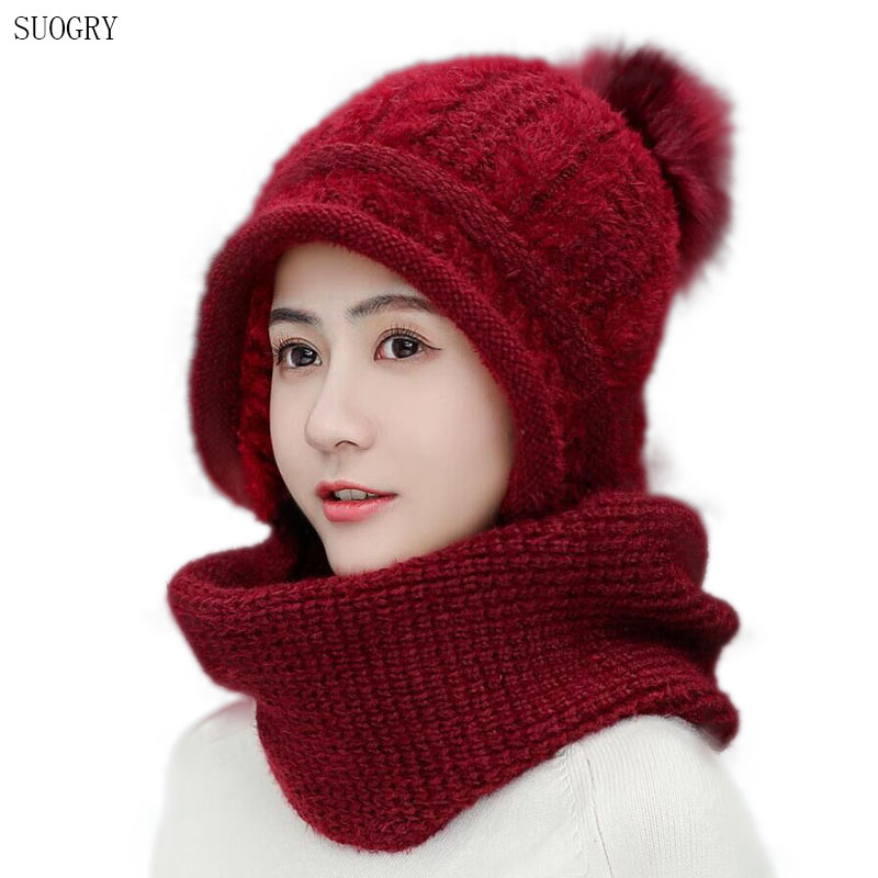 Winter Rabbit Hair Knitted Scarf Hat Set Beanie Women Scarf Skullies Beanies Hats For Women Siamese Caps Gorras Bonnet Mask