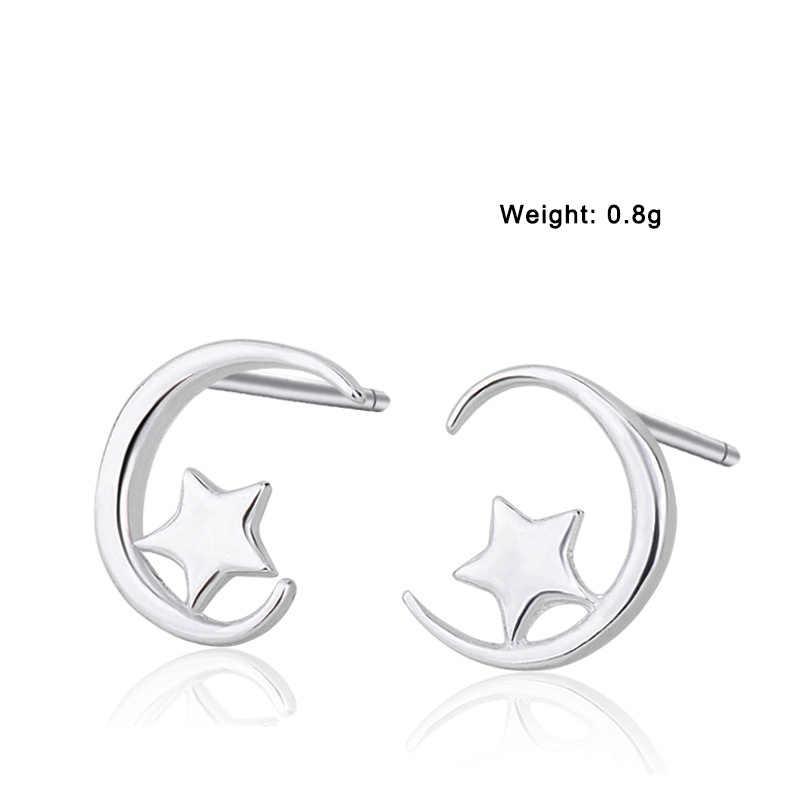 XIYANIKE 925 スターリングシルバーファッションスター月防止アレルギースタッド女性の小さな耳フープウェディングジュエリーギフト