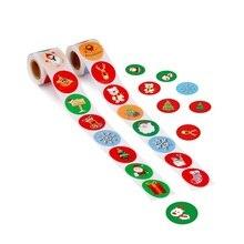 500 этикеток в рулоне 2,5 см круглые крафт-бумажные бирки для подарков мультфильм Рождественский дизайн клейкие этикетки подарок на праздник Рождество украшения