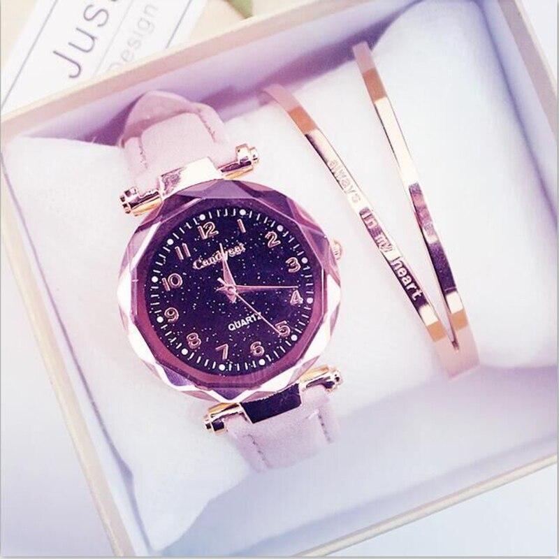 Women Watches Leather Fashion Starry Sky Bracelet Set Women  Wristwatch Gifts For Women Hot Selling  Female Wrist  Quartz Watch