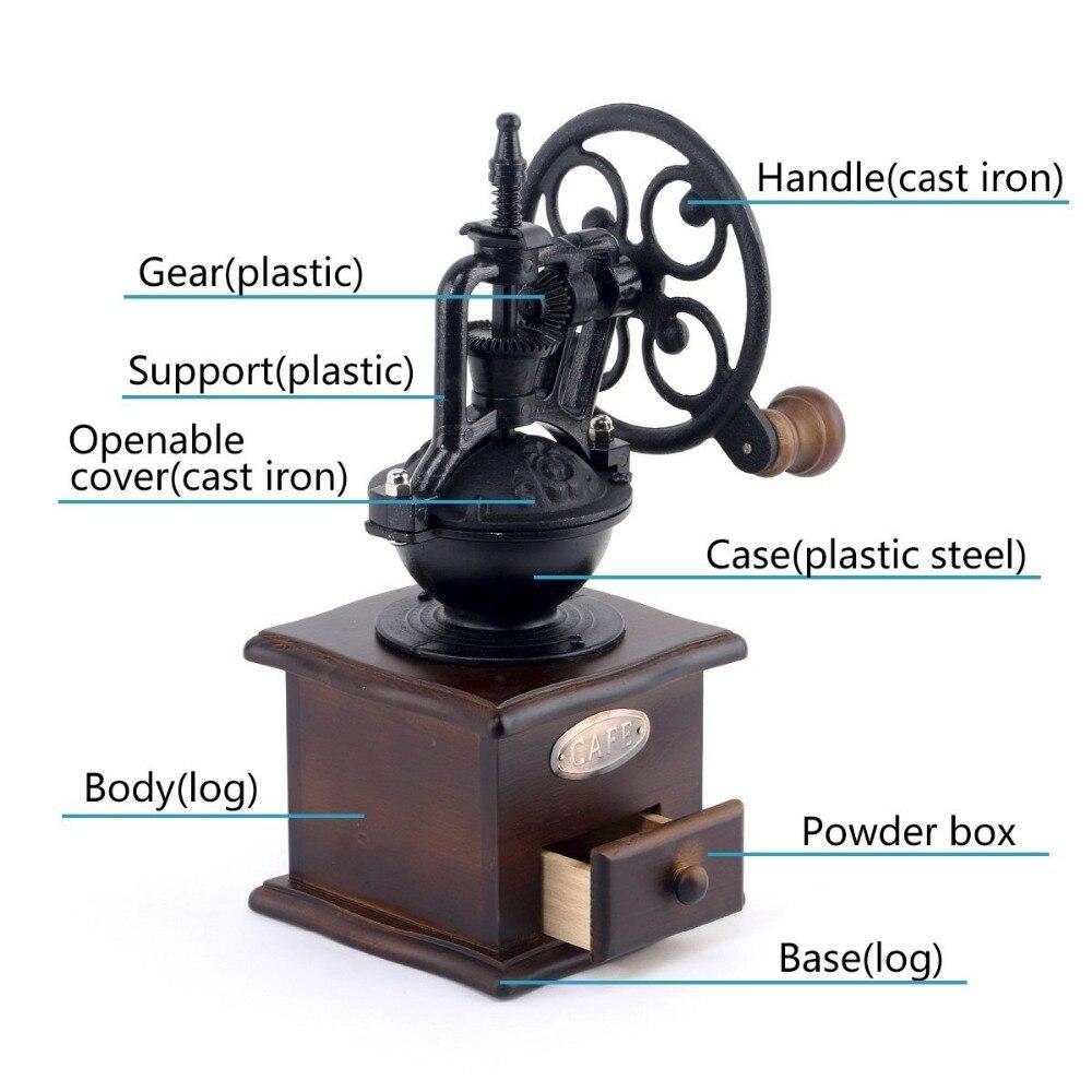 Винтажный дизайн колеса ручная кофемолка с керамическим механизмом Ретро деревянная кофейная мельница для украшения дома
