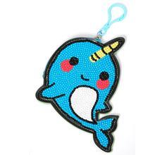 1PC Creative Design Cartoon Blue Whale 5D DIY Diamond Painting Keychain Wallet  Woman Girl Jewelry Keyring Knapsack Decoration