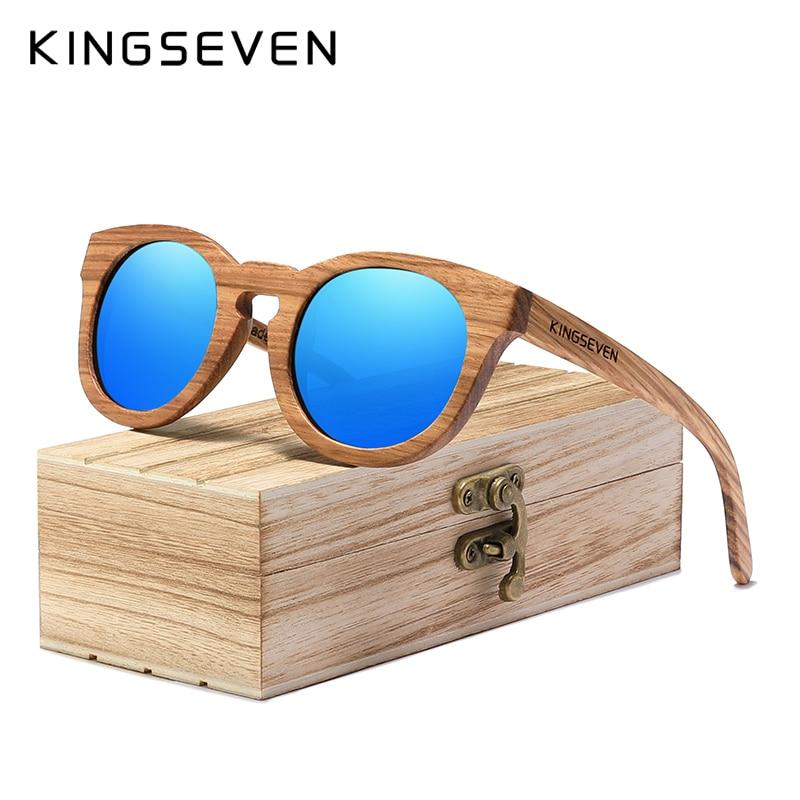 KINGSEVEN 100% Handmade 2020 New Natural Wood Sunglassess Full Frame Polarized Mirror Coating Lenses Carving Eyewear Accessories