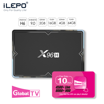 ILEPO Iptv Subscription X96H TV BOX Allwinner H6 Rtv Box Top Model Europe Portugal HDMI 2.0 Tv Smart Evpad Tv Box Android 9.0