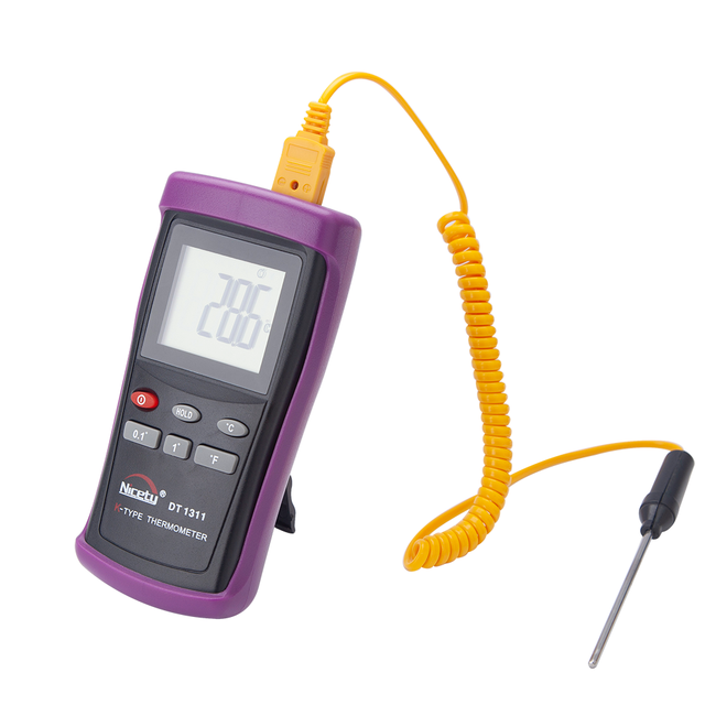 Nicety DT1311 Digital LCD Industrial Thermometer Thermocouple Sensor K Type Dual Channel Thermometer with probe Null