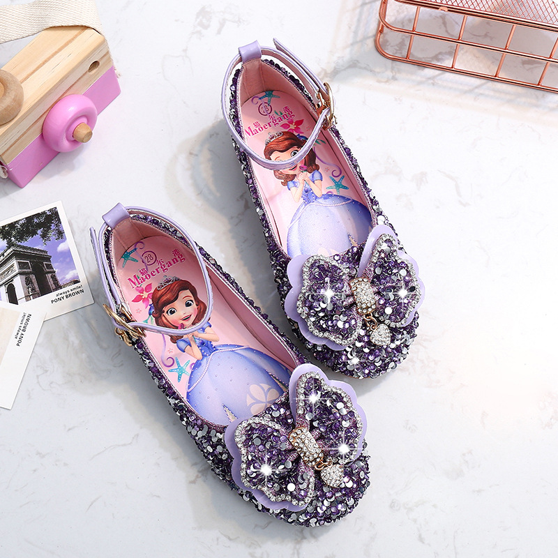 Disney Girls Crystal Princess Shoes Spring New Children's Sophia Shoes Little Girl Korean Performance Shoes