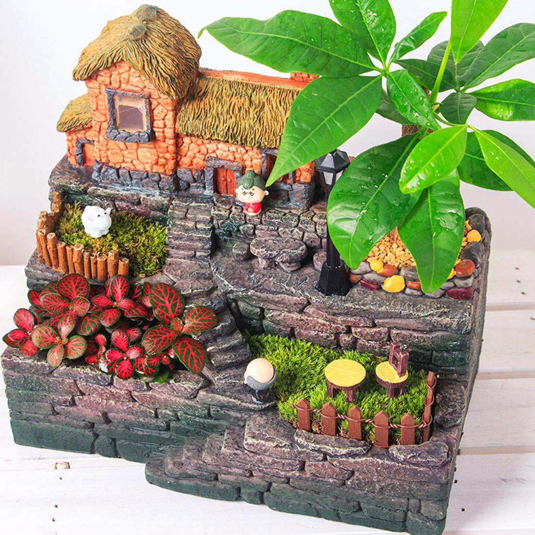 Creativo pastoral cama de flores de resina maceta suculenta caja bonsái lecho de planta con maceta de luz provincia - 6